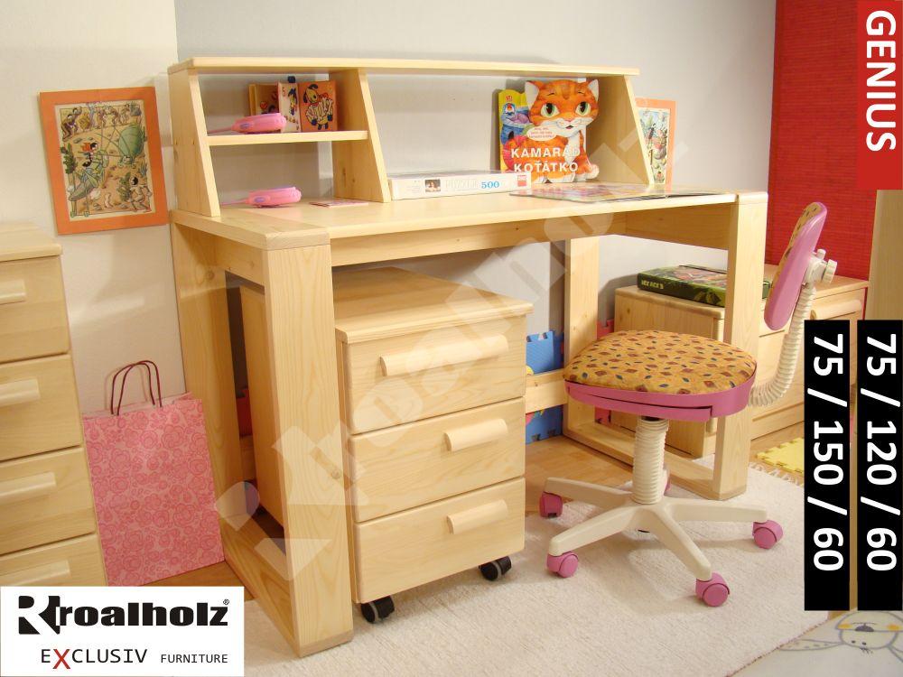 Dřevěný psací stůl z masivu GENIUS, psací stůl masiv pro školáky ROALHOLZ