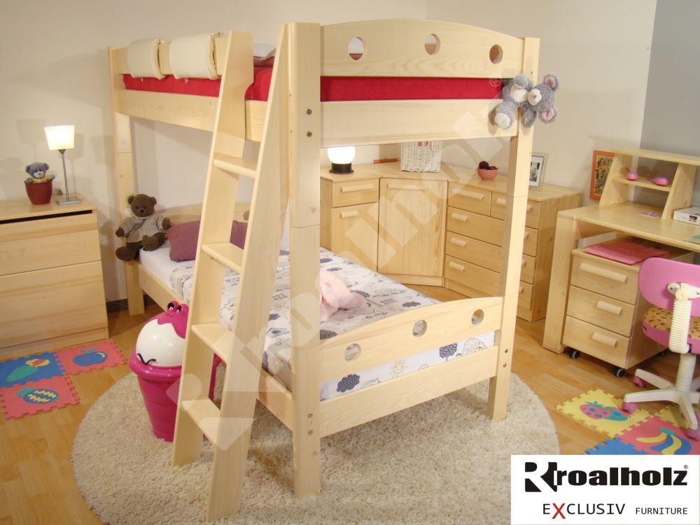 Patrová postel z masivu FIJA P, palanda z masivu pro děti 90x200 ROALHOLZ