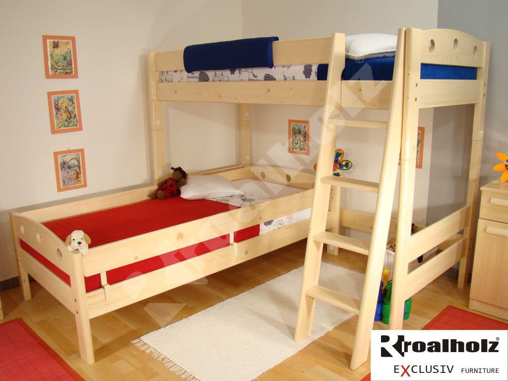 Horní spaní z masivu, patrová postel masiv FIJA V 90x200 ROALHOLZ