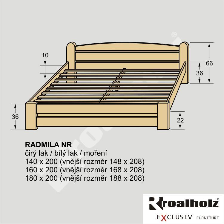 Dřevěné dvoulůžko z masivu RADMILA NR, manželská postel masiv ROALHOLZ