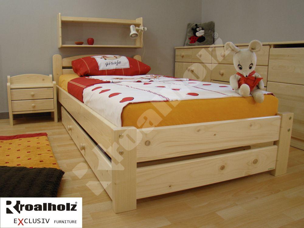 Dětské jednolůžko z masivu RADKA NR 90x200, dřevěná postel ROALHOLZ