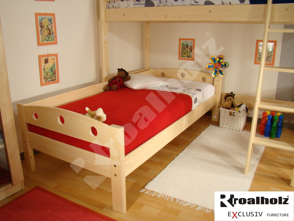 Dřevěné jednolůžko se zábranou z masivu FIJA A 90x200, variabilní postel masiv ROALHOLZ