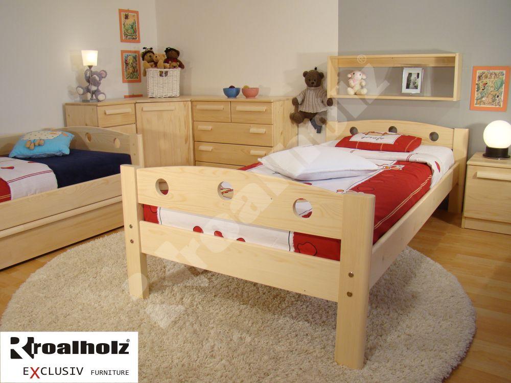 Dřevěná dětská postel z masivu FIJA B 90x200, dětské jednolůžko masiv ROALHOLZ
