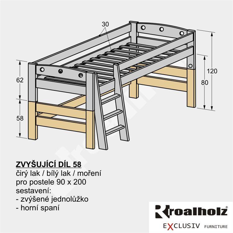 Komponent ZVYŠUJÍCÍ DÍL 58 pro sestavu patrové postele z masivu 90x200 ROALHOLZ