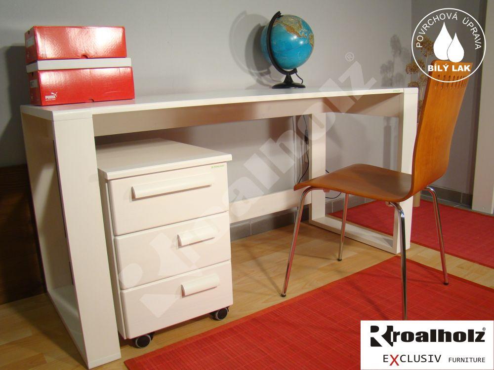 Bílý psací stůl z masivu GENIUS, psací stůl masiv pro školáky ROALHOLZ