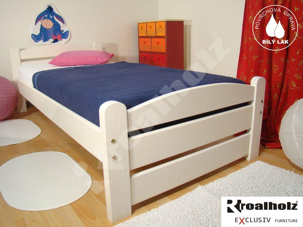 Bílá dětská postel z masivu RADKA 90x200, bílé jednolůžko masiv ROALHOLZ