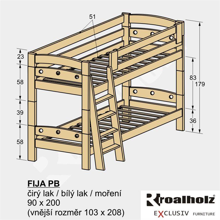 Bezpečná patrová postel z masivu FIJA PB 90x200, palanda masiv ROALHOLZ