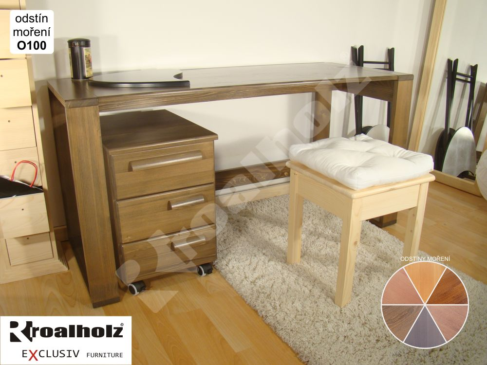 Mořený psací stůl z masivu GENIUS, moderní psací stůl pro školáky ROALHOLZ