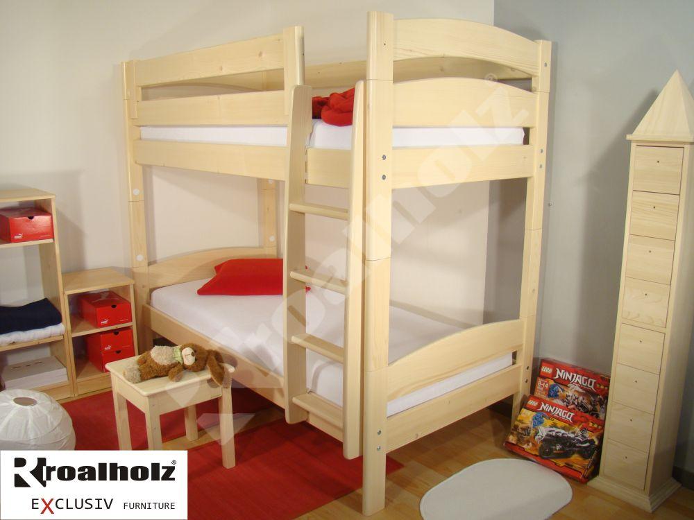 Bezpečná kvalitní patrová postel z masivu FIJA PB, palanda masiv 90x200 ROALHOLZ