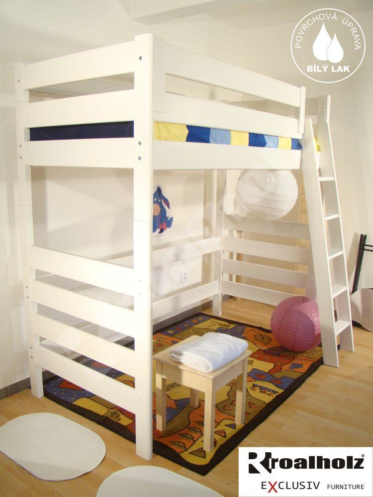 Bílá patrová postel z masivu, bílé horní spaní masiv MONSTR VB 90x200 ROALHOLZ