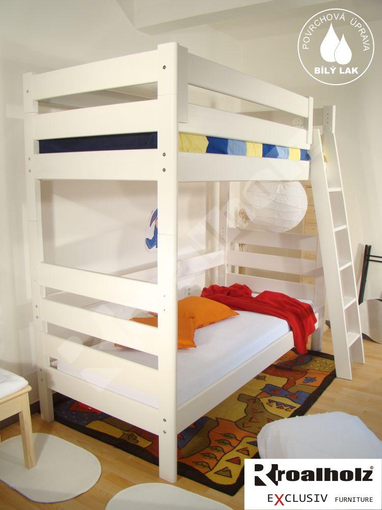 Bílá etážová postel z masivu MONSTR PB 90x200, bílá palanda masiv ROALHOLZ