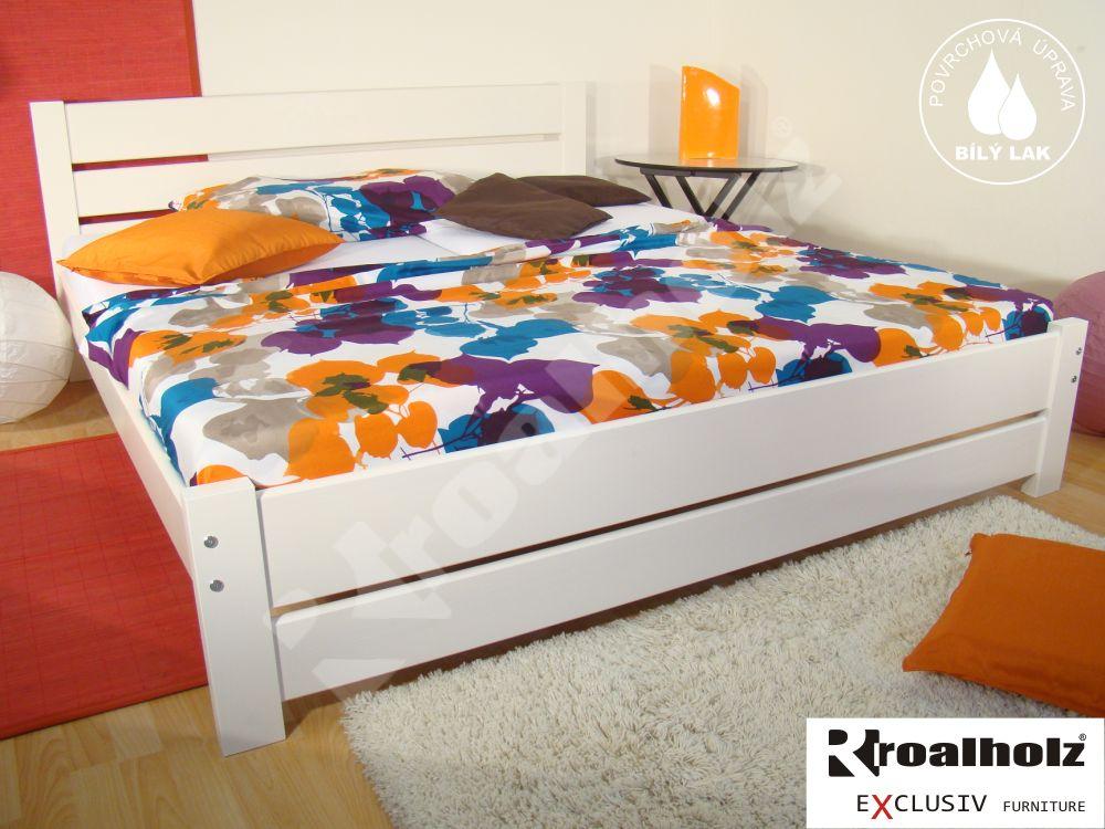 Bílá manželská postel z masivu NELA NR 180x200, bílé dvoulůžko masiv smrk ROALHOLZ