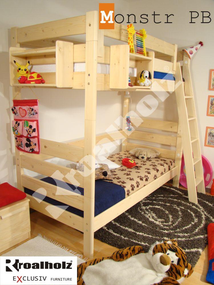 Vysoká patrová postel z masivu MONSTR PB, bezpečná palanda 90x200 ROALHOLZ