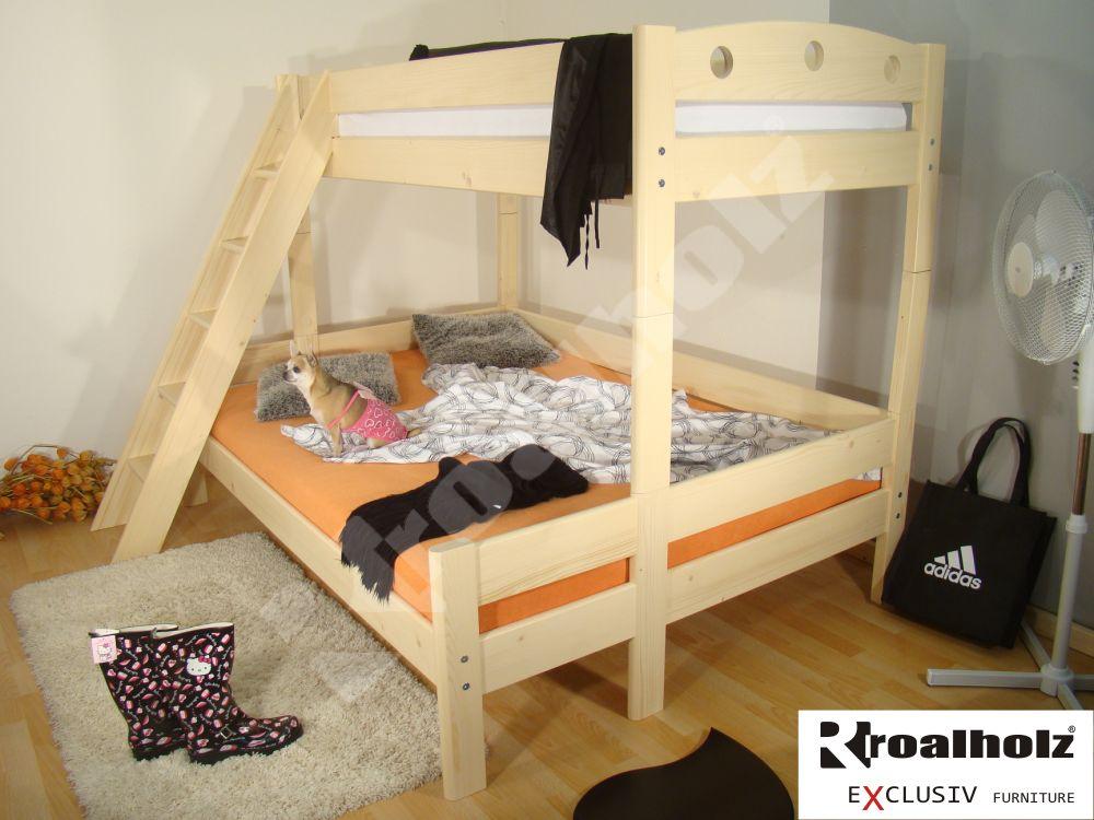 Rozšířená palanda z masivu FIJA BIG, patrová postel 140x200 ROALHOLZ