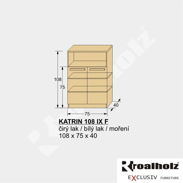 Dvířkový prádelník z masivu KATRIN 108 IX F, vysoká komoda masiv ROALHOLZ
