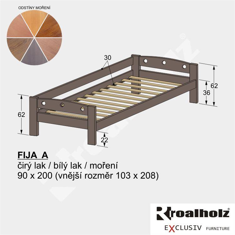 Barevná dětská postel z masivu FIJA A, jednolůžko se zábranou 90x200 ROALHOLZ