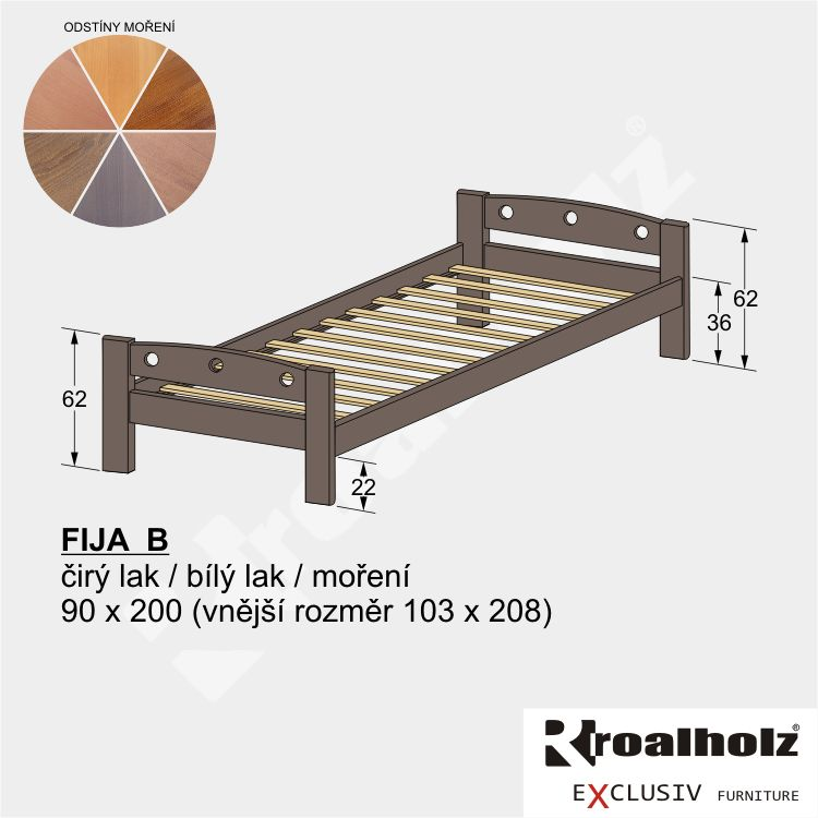Mořená variabilní postel z masivu FIJA B 90x200, mořené jednolůžko masiv ROALHOLZ