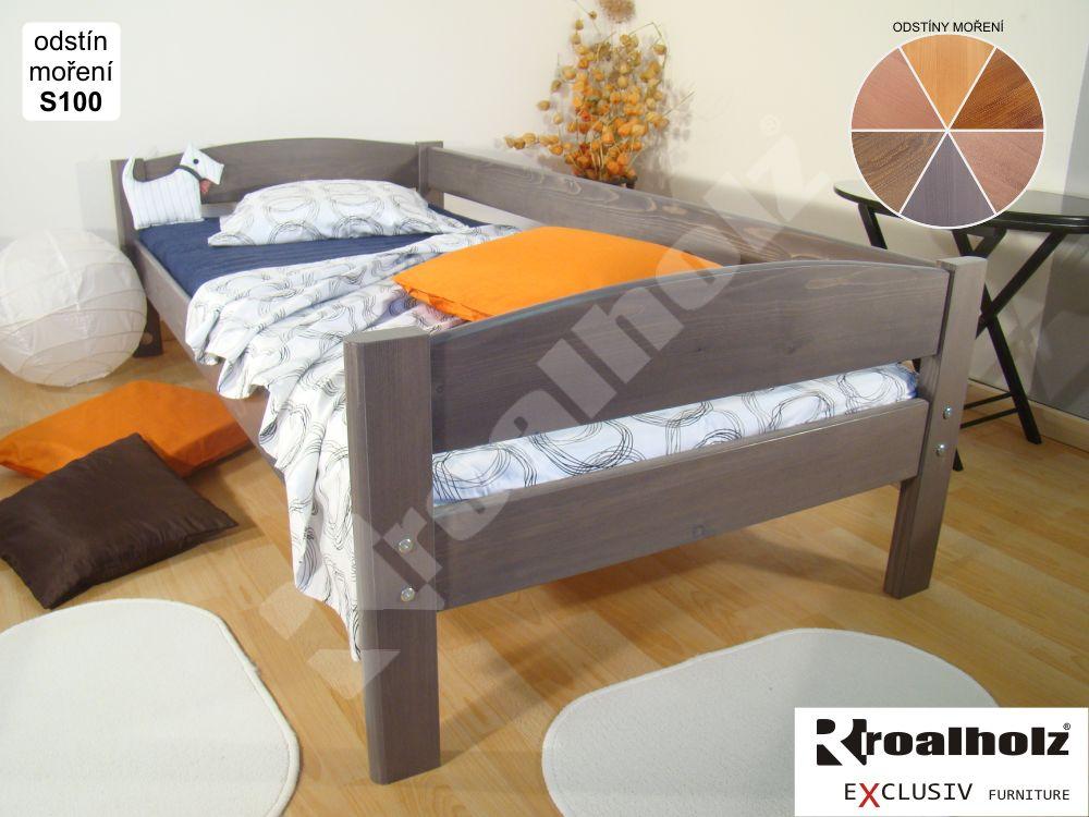 Mořená dětská postel z masivu ELEA A 90x200, postel se zadní zábranou ROALHOLZ