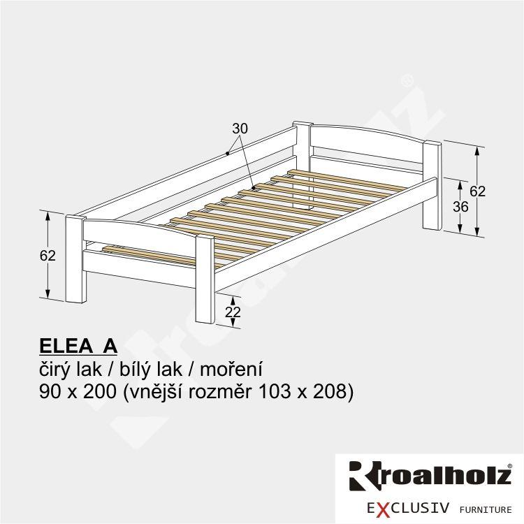 Bílá dětská postel z masivu se zadní zábranou ELEA A, bílé jednolůžko 90x200 ROALHOLZ
