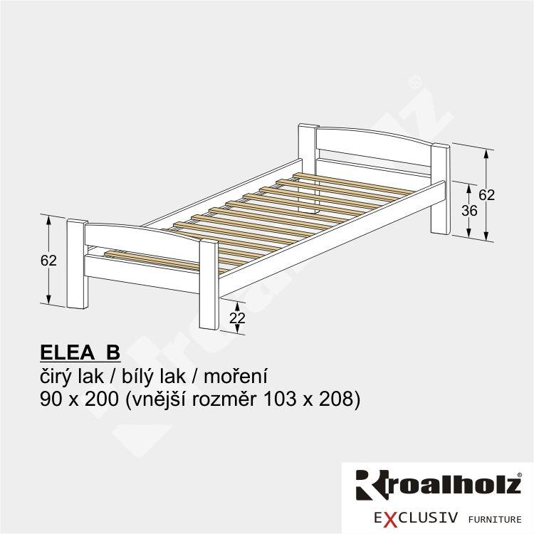 Bílá dětská postel z masivu ELEA B 90x200, bílé jednolůžko masiv ROALHOLZ