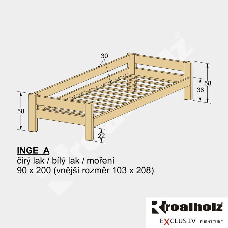 Dětská postel z masivu se zábranou INGE A, jednolůžko masiv se zábranou 90x200 ROALHOLZ