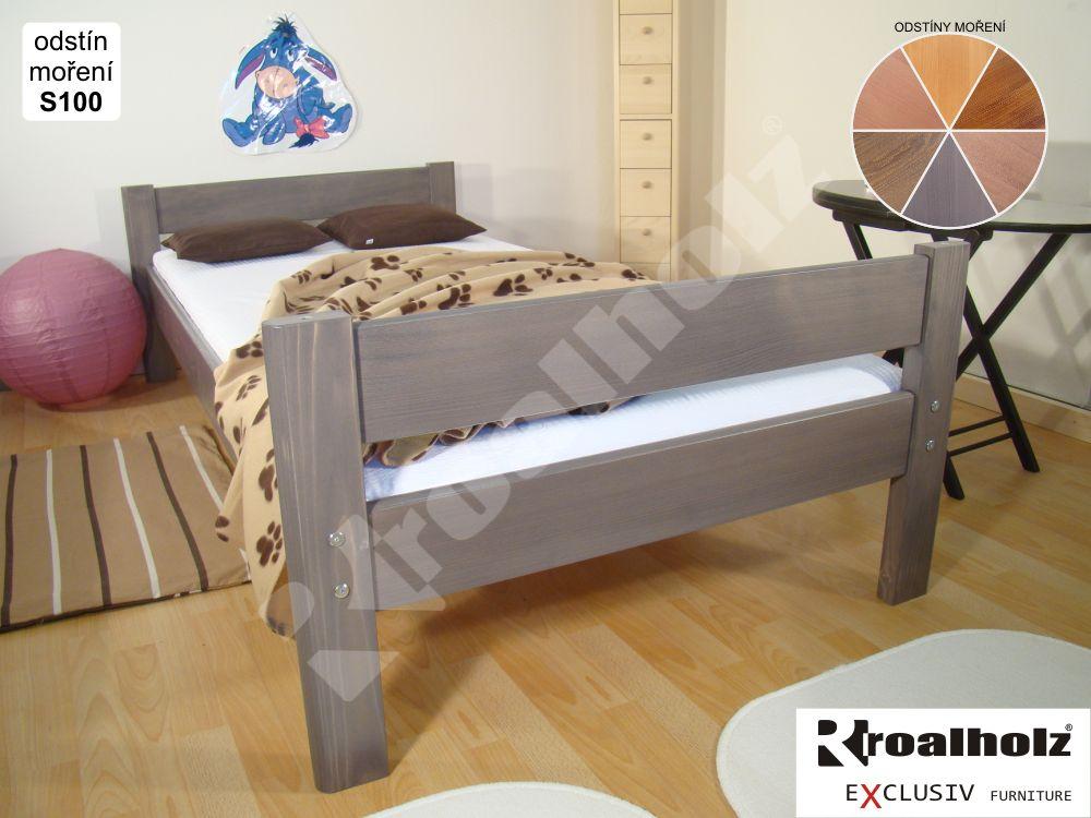 Barevné jednolůžko z masivu INGE B, barevná postel masiv 90x200 ROALHOLZ