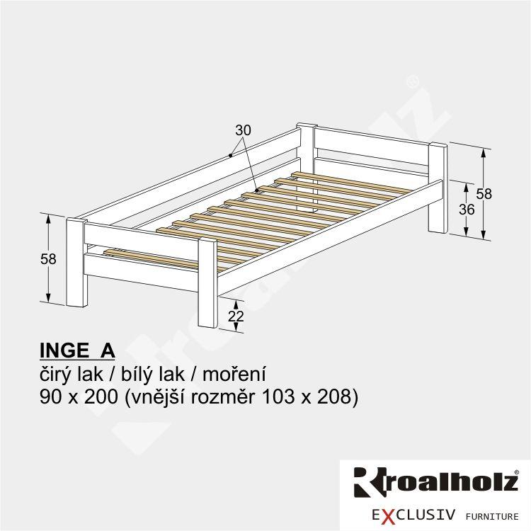 Bílá dětská postel z masivu se zábranou INGE A, bílé jednolůžko masiv 90x200 ROALHOLZ