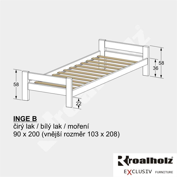Bílá dětská postel z masivu INGE B 90x200, variabilní bílé jednolůžko masiv ROALHOLZ