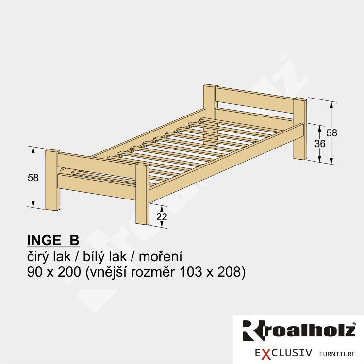 Přírodní dětská postel z masivu INGE B 90x200, přírodní jednolůžko z masivu ROALHOLZ