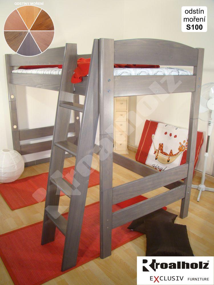 Barevné horní spaní z masivu pro děti ELEA V, barevná palanda 90x200 ROALHOLZ