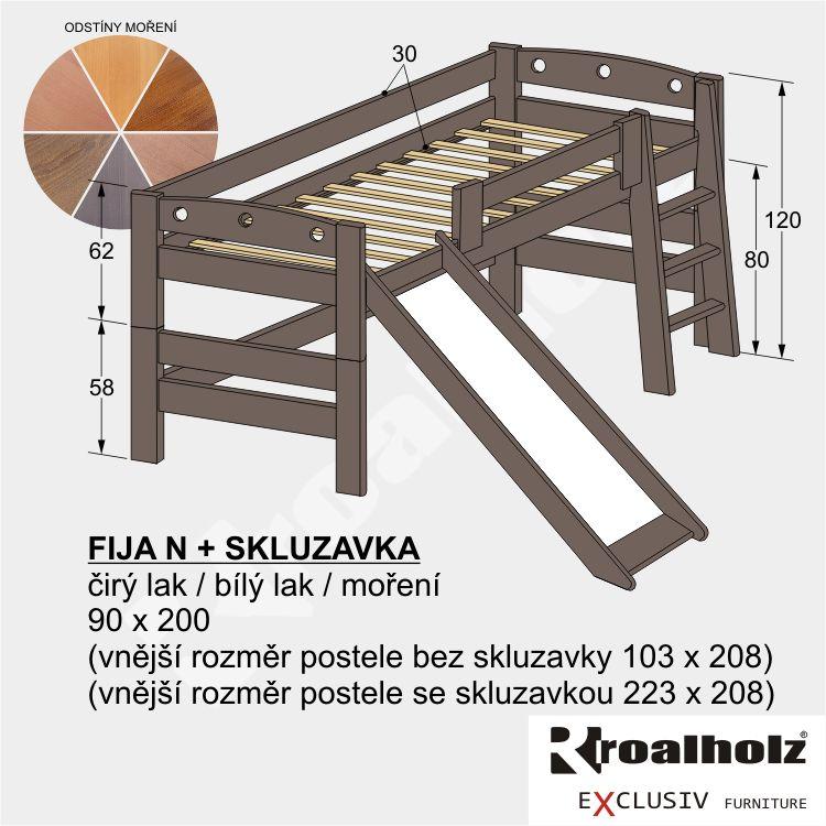 Dětská barevná zvýšená postel z masivu FIJA N se skluzavkou 90x200 ROALHOLZ