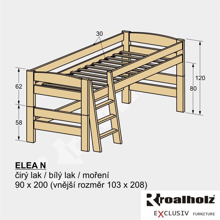 Dětská nízká patrová postel z masivu ELEA N 90x200, zvýšené jednolůžko ROALHOLZ