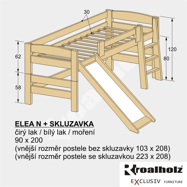 Dřevěná nízká palanda z masivu ELEA N se skluzavkou 90x200 masiv smrk ROALHOLZ