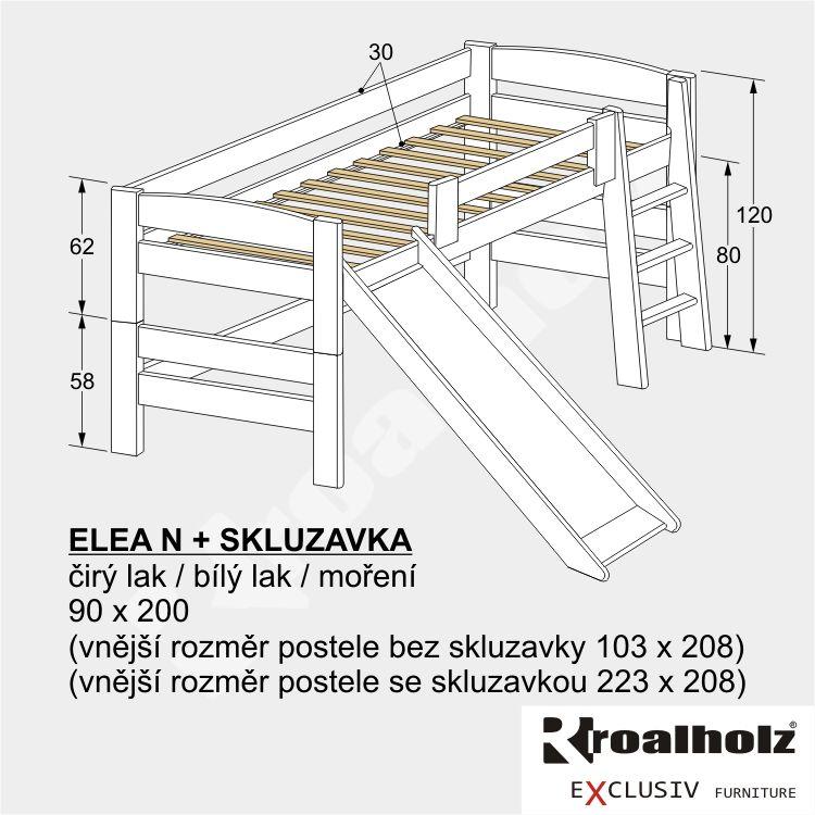 Bílá dětská zvýšená postel z masivu ELEA N se SKLUZAVKOU 90x200 ROALHOLZ
