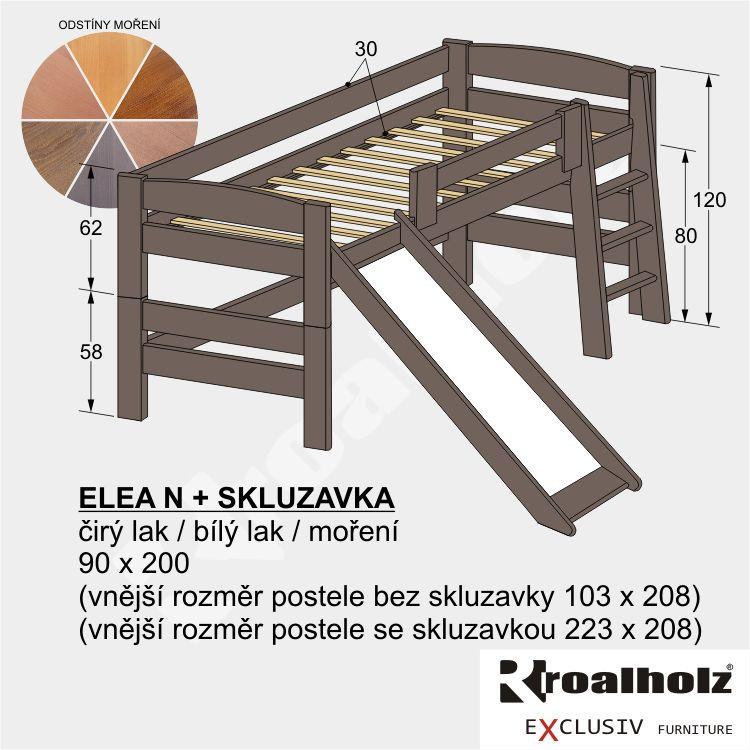 Dětská barevná zvýšená postel z masivu ELEA N se skluzavkou 90x200 ROALHOLZ