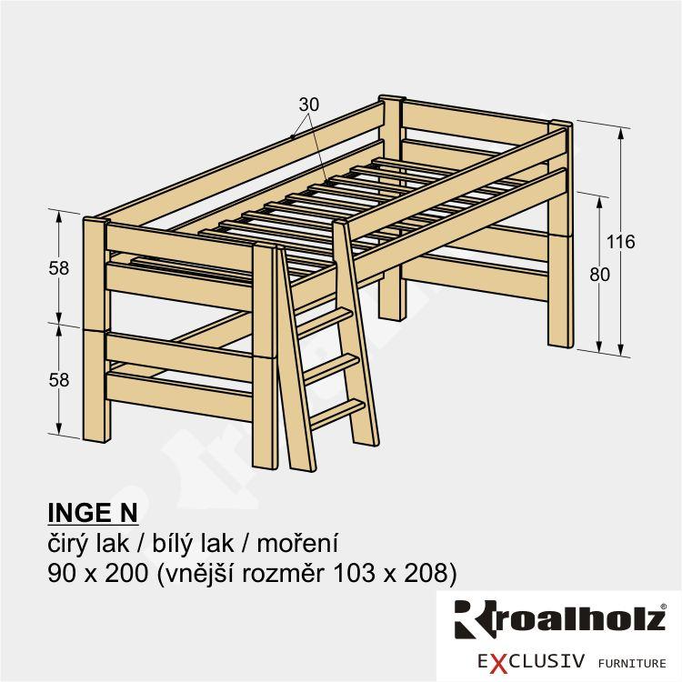 Zvýšená dětská postel z masivu INGE N 90x200, rozkládací postel pro děti ROALHOLZ
