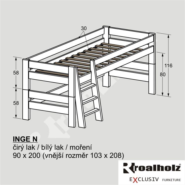 Bílá rozkládací zvýšená dětská postel masiv INGE N 90x200 ROALHOLZ