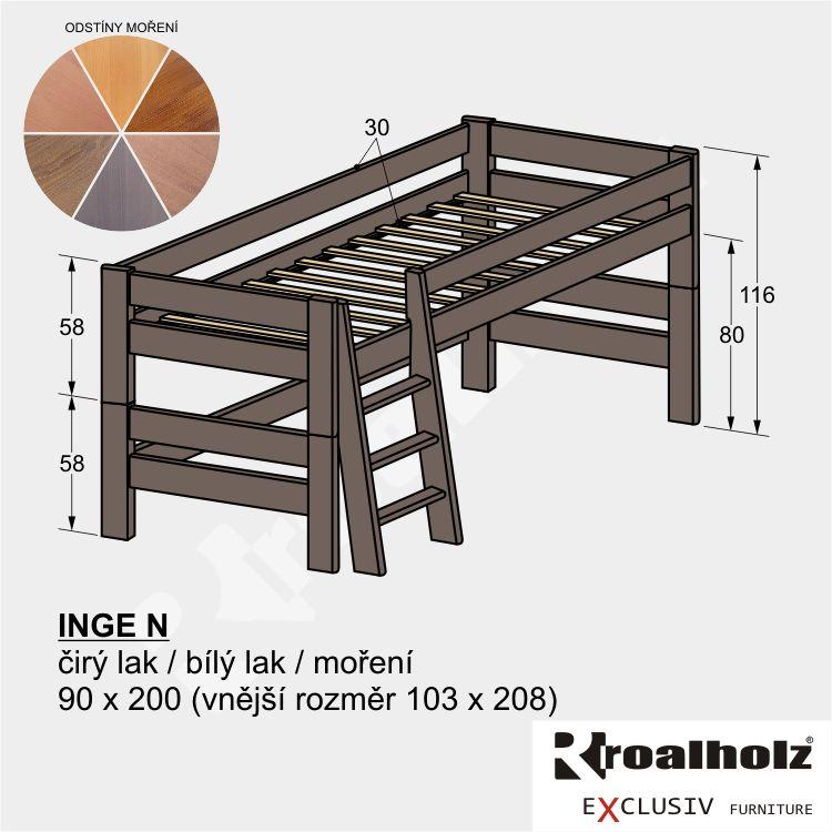 Barevná, mořená zvýšená postel z masivu pro děti INGE N 90x200 ROALHOLZ