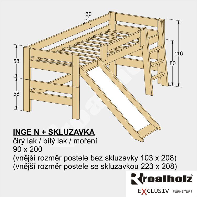 Dětská zvýšená postel z masivu se skluzavkou INGE N 90x200 masiv smrk ROALHOLZ