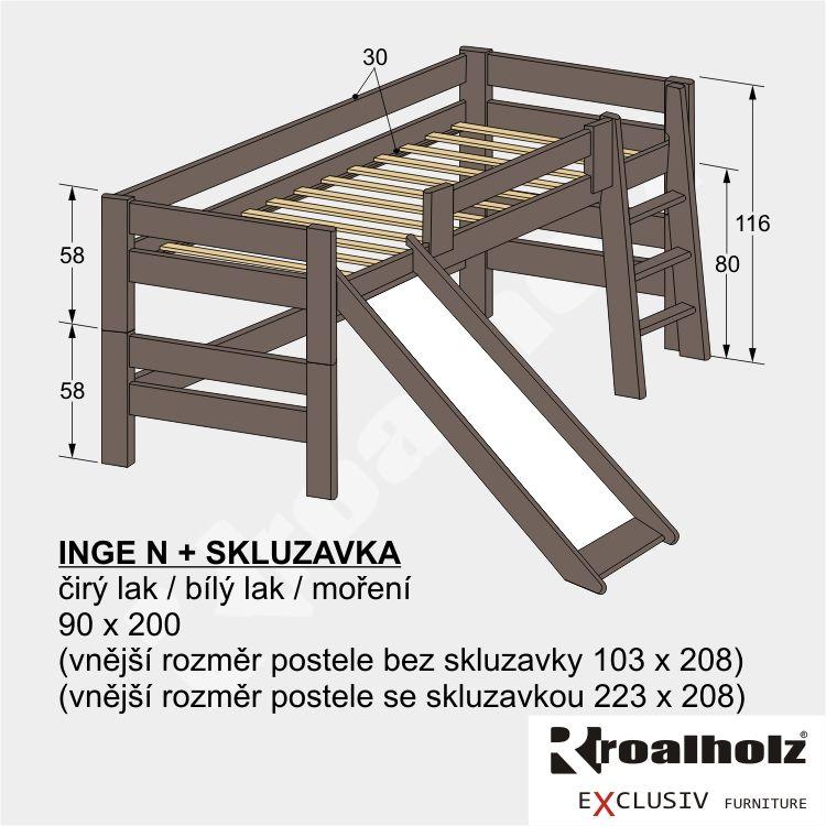 Dětská barevná zvýšená postel z masivu INGE N + skluzavka 90x200 ROALHOLZ