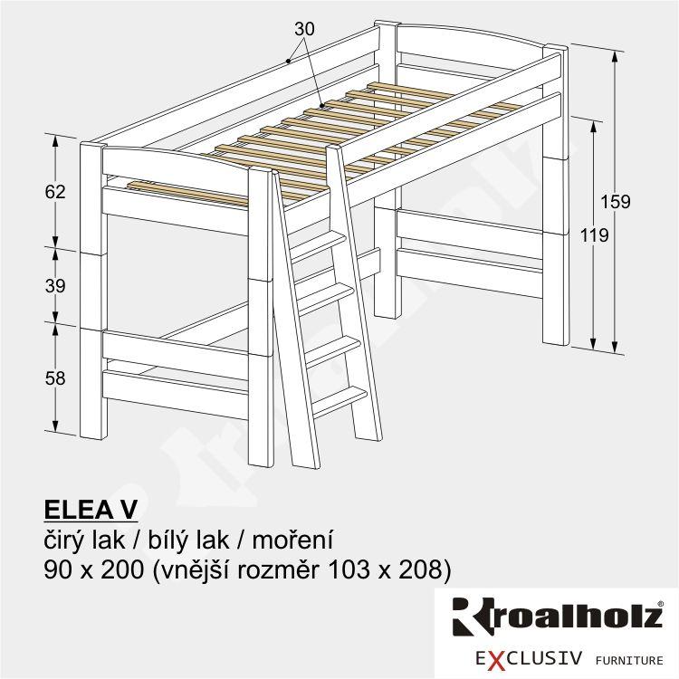 Bílé horní spaní z masivu, rozkládací palanda pro děti ELEA V 90x200 ROALHOLZ
