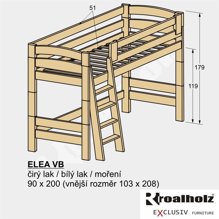 Bezpečné horní spaní z masivu pro děti ELEA VB, rozkládací palanda 90x200 ROALHOLZ