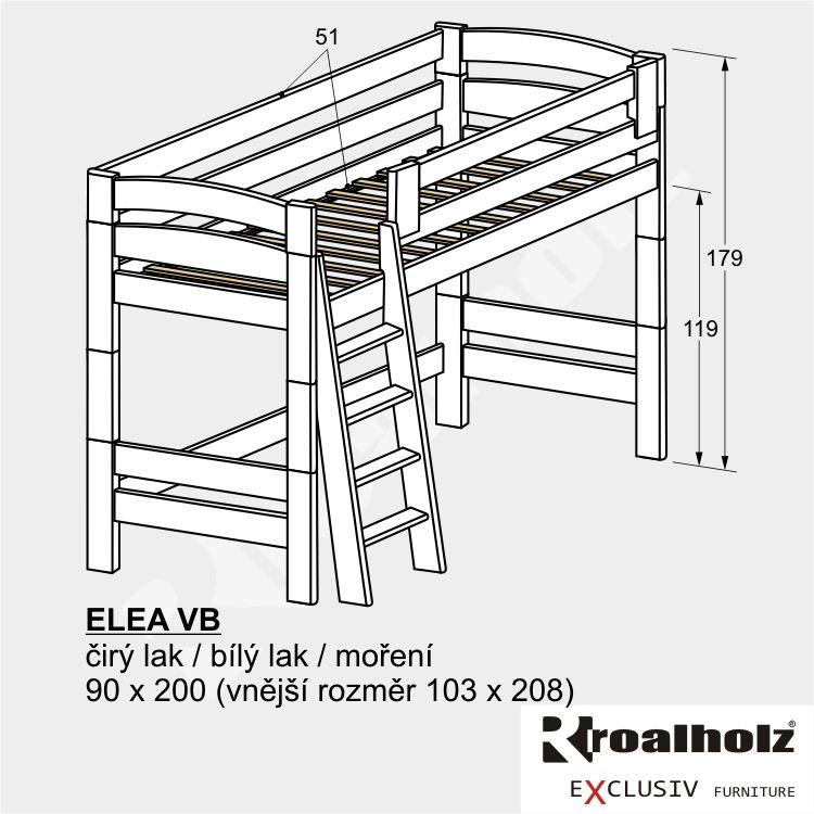 Bílé bezpečné horní spaní z masivu, bílá palanda pro děti ELEA VB 90x200 ROALHOLZ