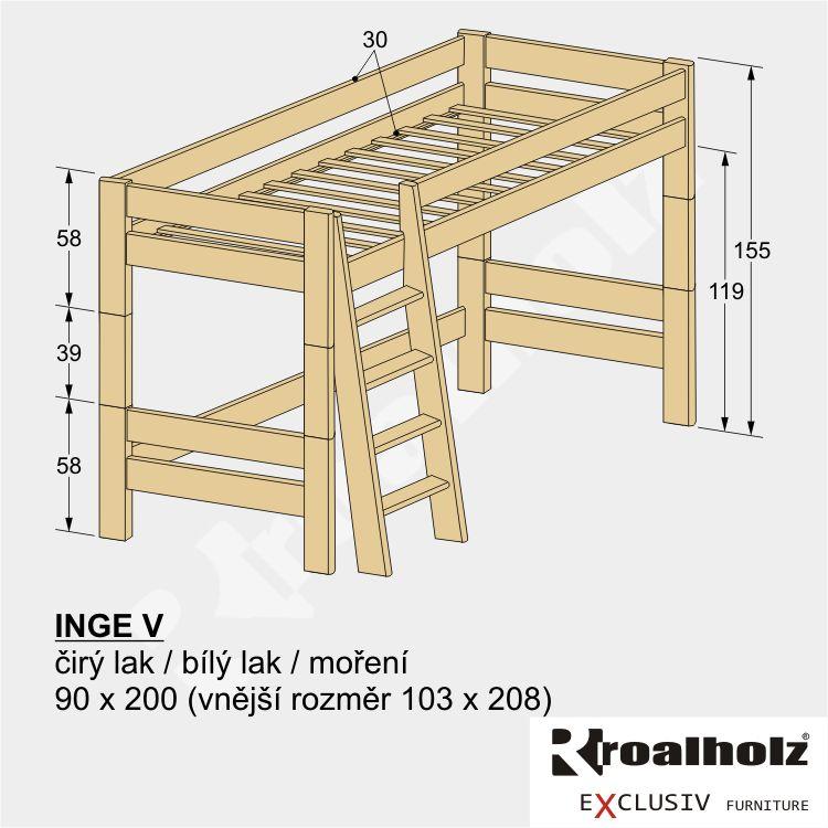 Moderní patrová postel z masivu INGE V, horní spaní masiv 90x200 ROALHOLZ