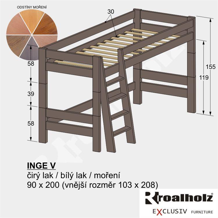 Barevné horní spaní z masivu INGE V, mořená patrová postel 90x200 ROALHOLZ