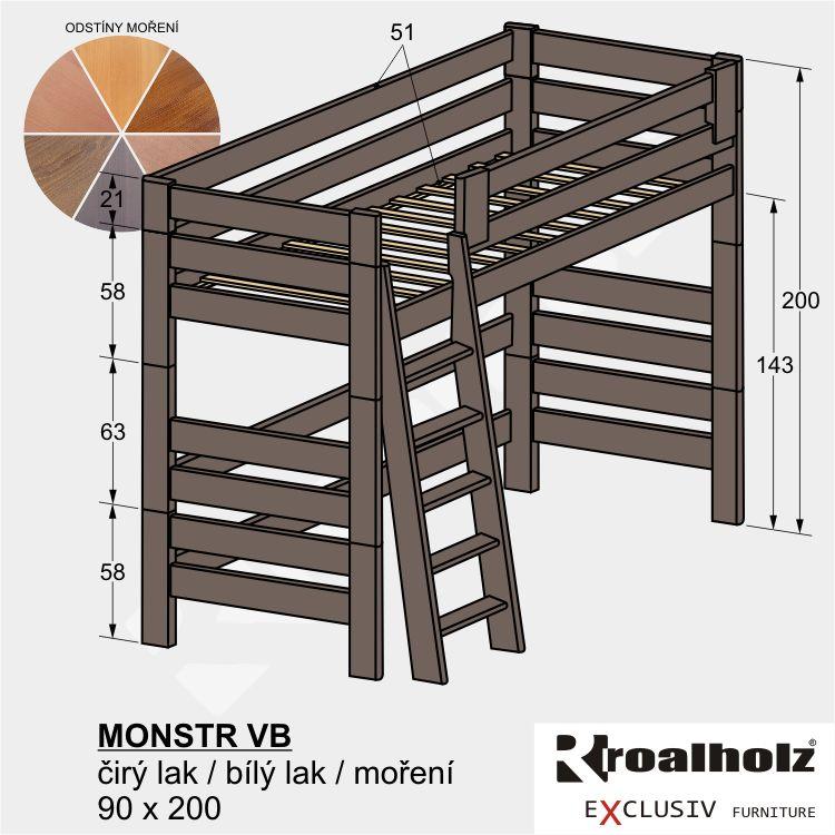 Bezpečná vysoká patrová postel z masivu MONSTR VB, barevné horní spaní 90x200 ROALHOLZ