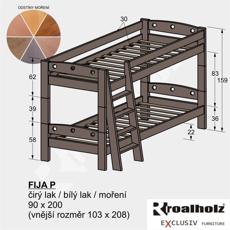 Barevná palanda z masivu pro děti FIJA P, mořená patrová postel 90x200 ROALHOLZ