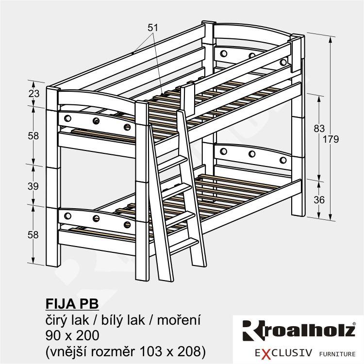 Bílá palanda z masivu FIJA PB, bílá bezpečná patrová postel 90x200 ROALHOLZ