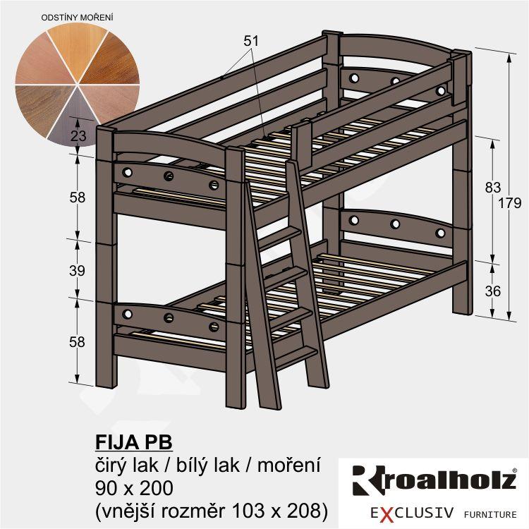 Bezpečná barevná palanda z masivu, barevná patrová postel FIJA PB 90x200 ROALHOLZ