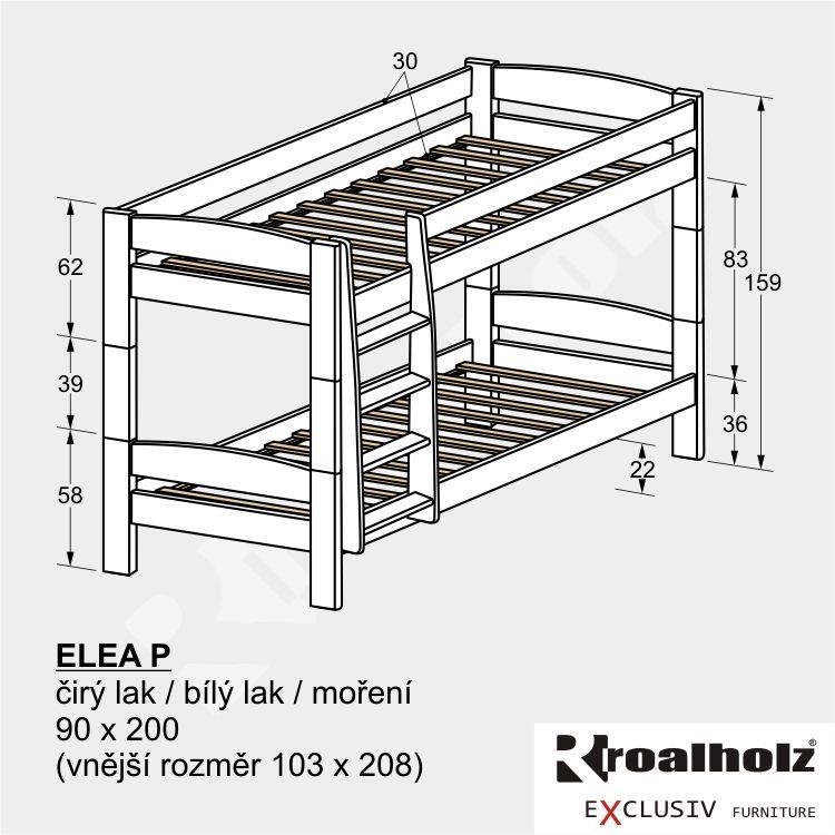 Bílá patrová postel z masivu, bílá palanda z masivu pro děti ELEA P 90x200 ROALHOLZ